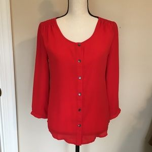 Lands' End Orange Red Bright Silky Blouse 2